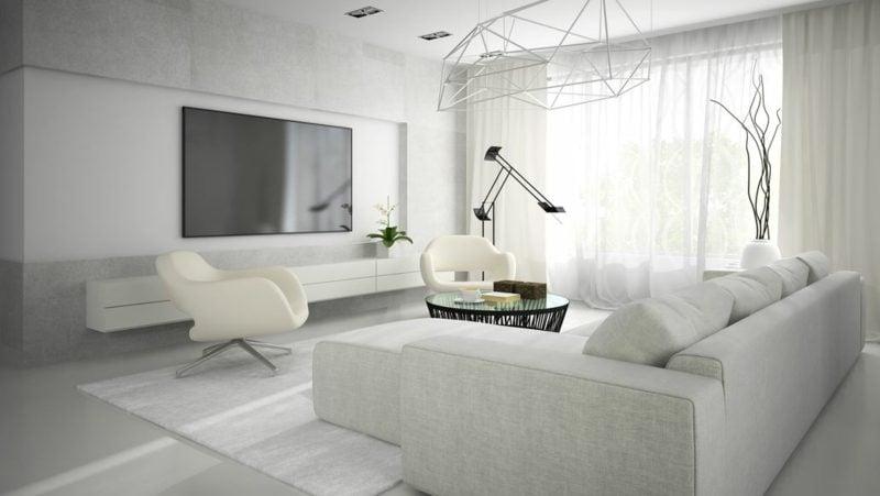 weiβes Wohnzimmer industrieller Stil