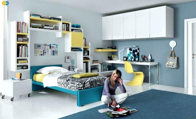 Teenager Zimmer einrichten Akzente gelb blau