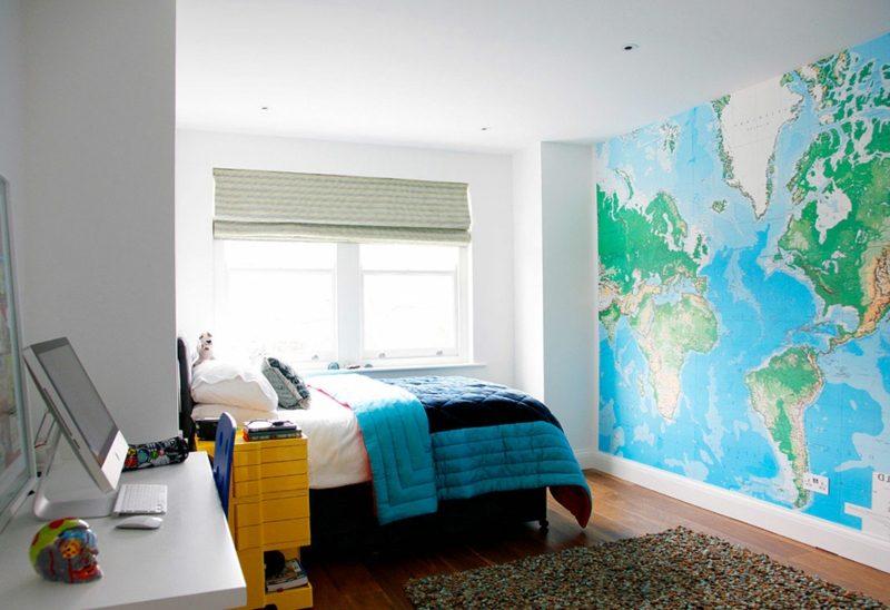 Teenager Zimmer einrichten Akzentwand Weltkarte