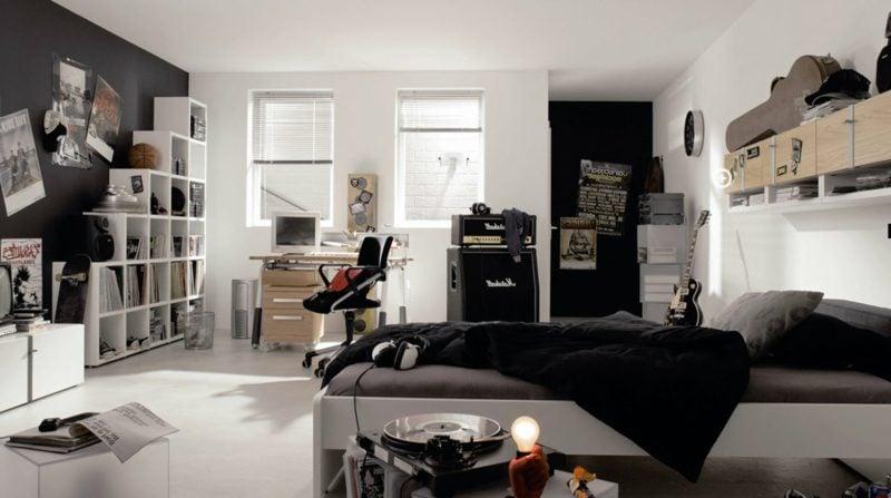 Teenager Zimmer einrichten Wandgestaltung weiss Junge