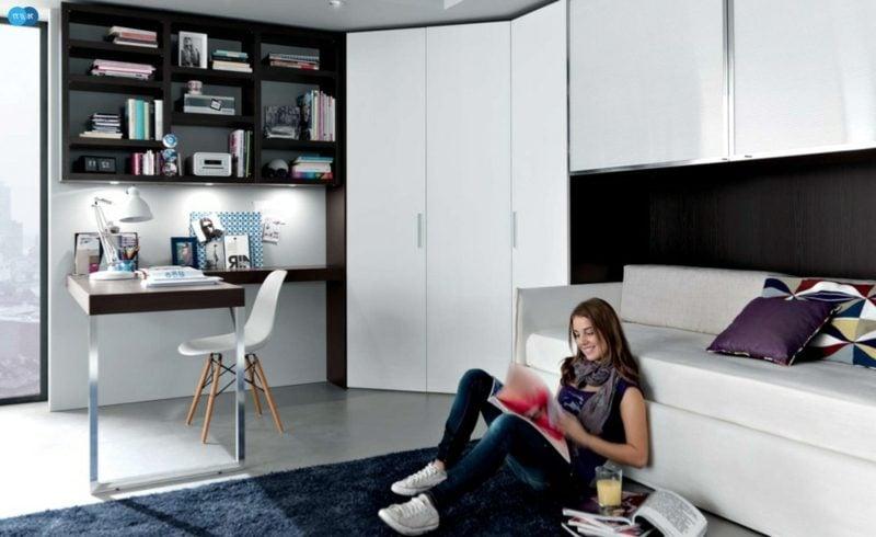 Teenager Zimmer einrichten Sofa Schreibtisch Kleiderschrank