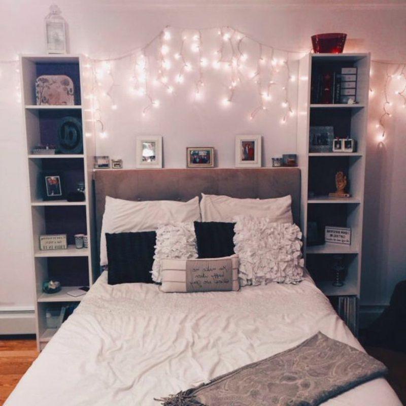 Teenager Zimmer einrichten Mädchen rosa Lichterkette