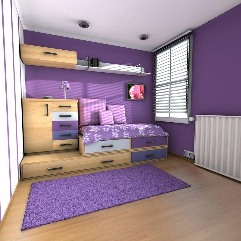 Teenager Zimmer einrichten Violett moderner Look