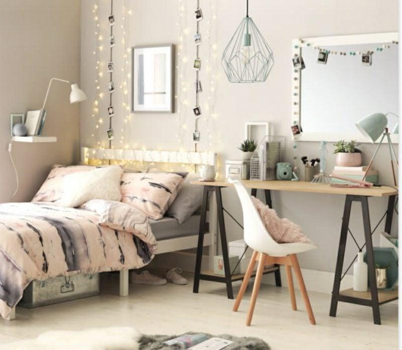 Teenager Zimmer einrichten skandinavisch Wandfarbe beige