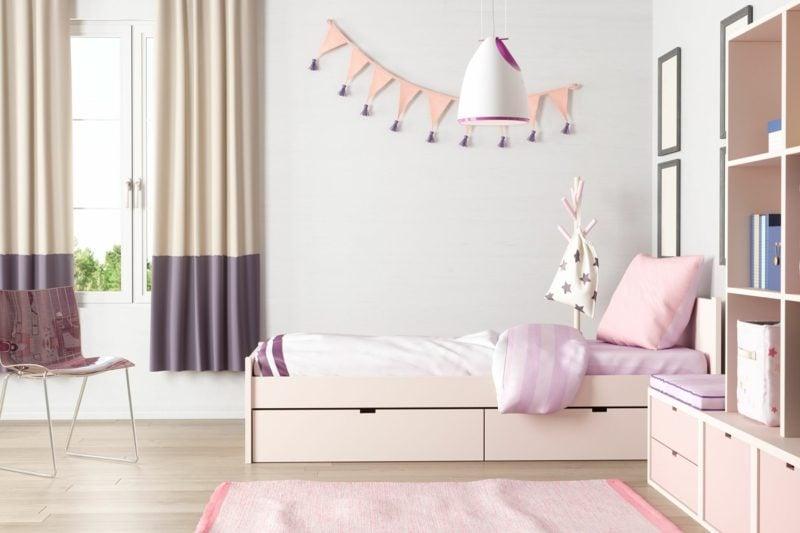 Teenager Zimmer einrichten Mädchen grau rosa akzente