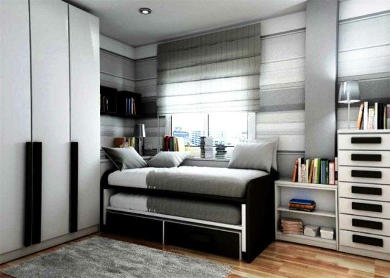 Teenager Zimmer einrichten grau weiss schwarz