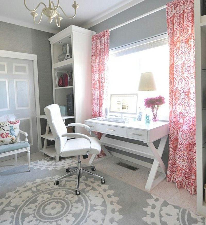 Teenager Zimmer einrichten Wandfarbe grau weiss rosa Gardinen