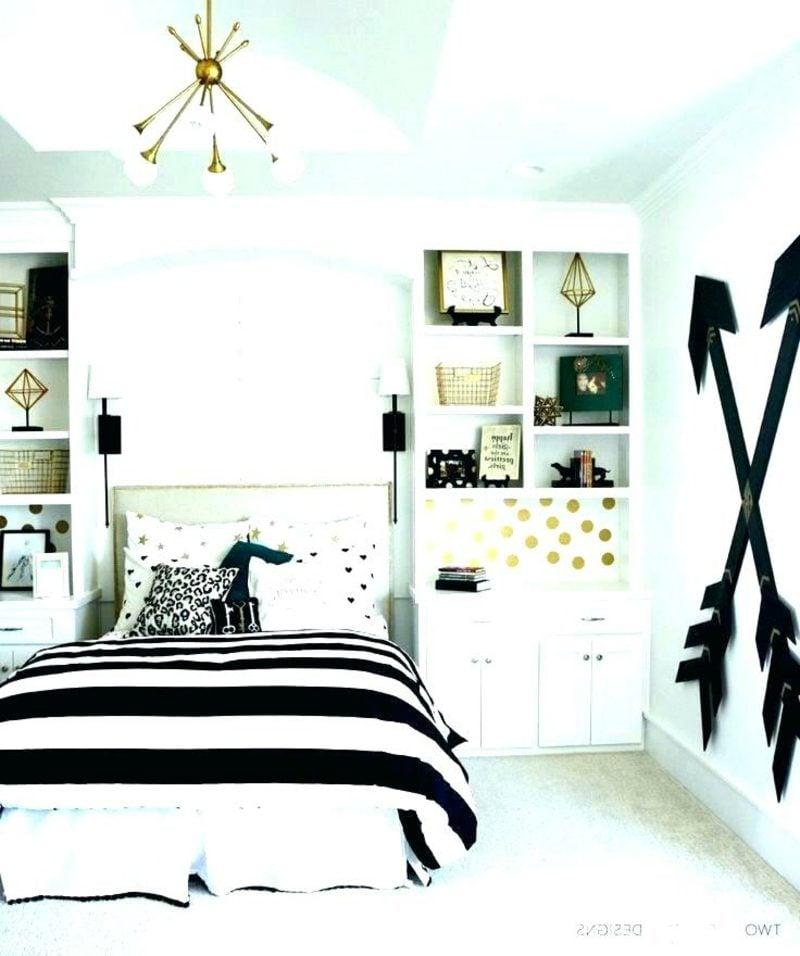 Teenager Zimmer einrichten schwarz weiss Streifenmuster