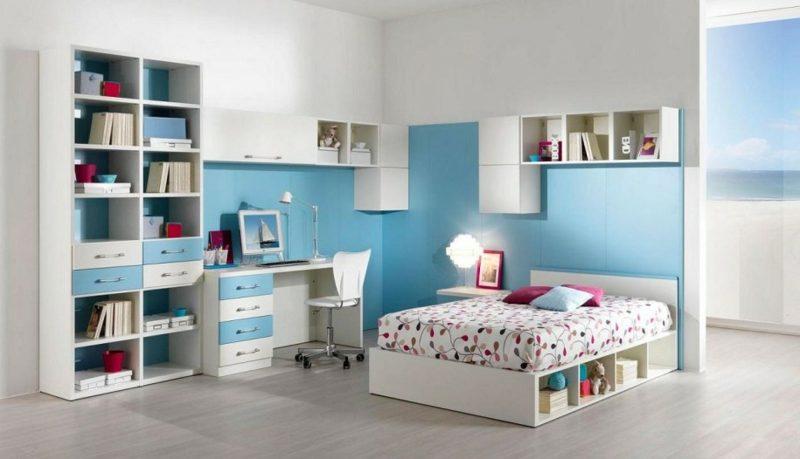 Teenager Zimmer einrichten weiss und blau Mädchen
