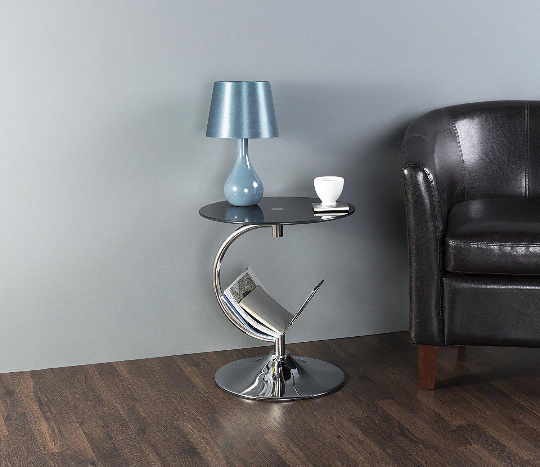 Modernen Beistelltisch mit Zeitungsständer Metall und Glas