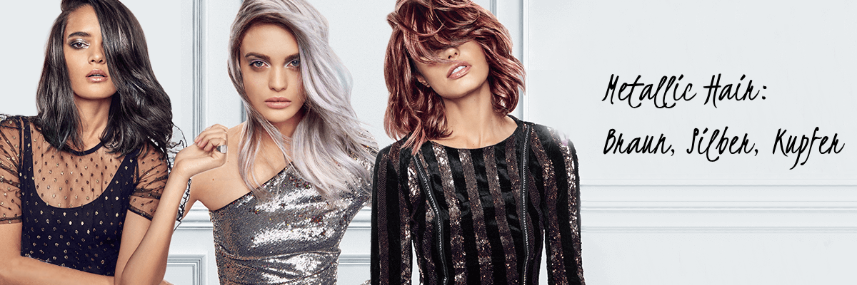 Metallic Haarfarbe Palette: von eisigen Silbertönen, über die irisierende Kupfernuance, bis hin zur warmen Goldfarbe