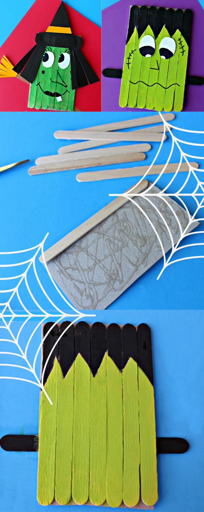 Noch eine wunderschöne Halloween Bastelidee mit Eis-Stäbchen