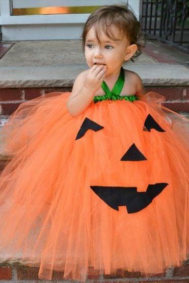 Halloween Kostüm Ideen für Mädchen: Tutu Kürbis Kleid