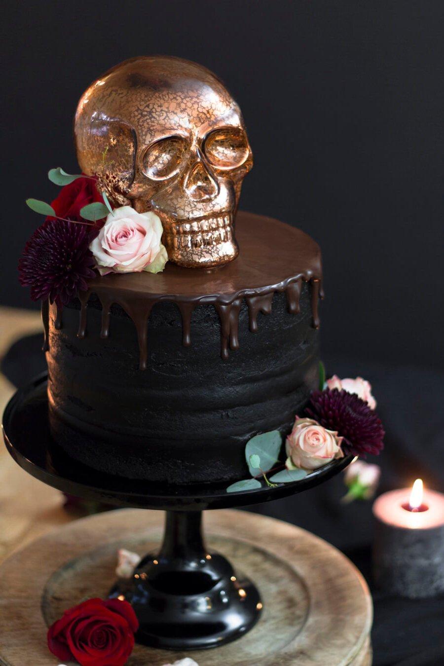 Designer Halloween Kuchen Totenkopf