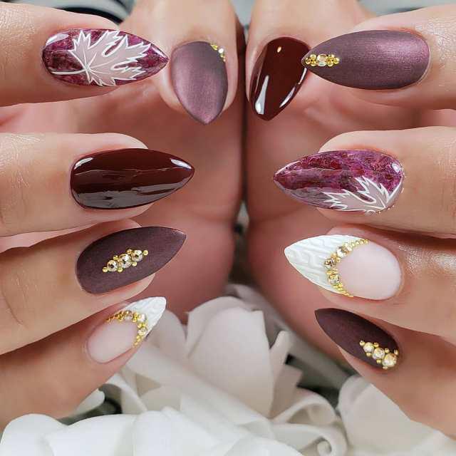 Top 10 gemusterte Maniküre: №1 Fingernägel Design für den Herbst