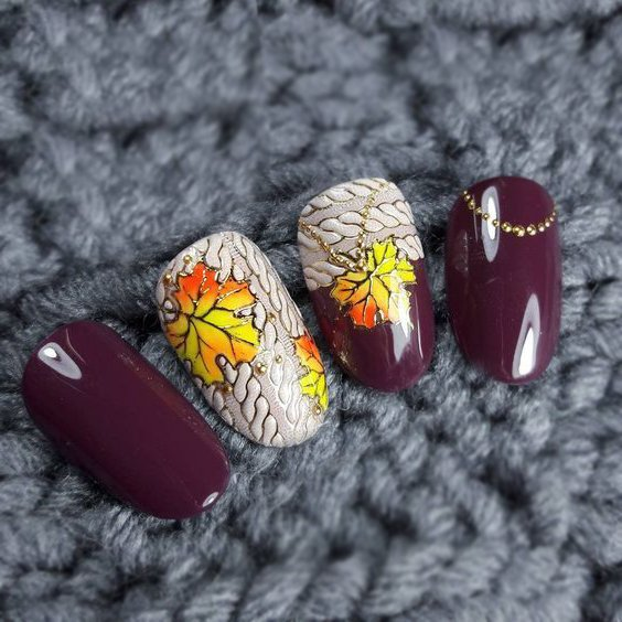 №2 Nägel Muster Design für den Herbst