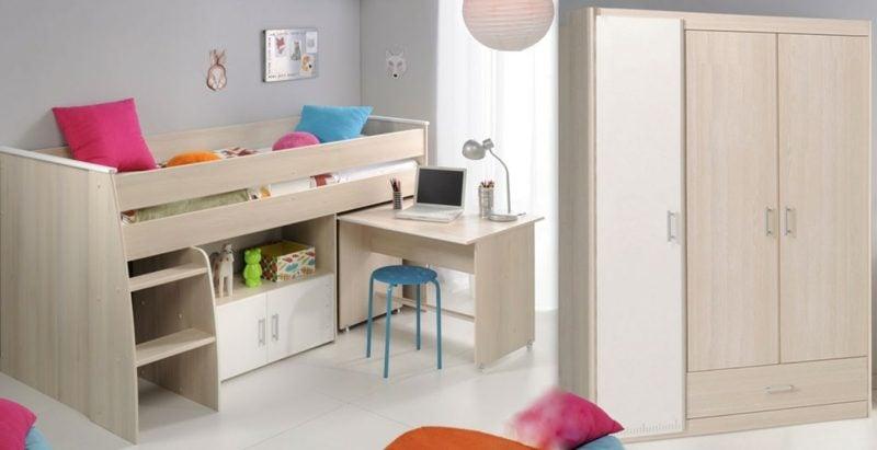 Hochbett mit Schreibtisch für Kleinkind