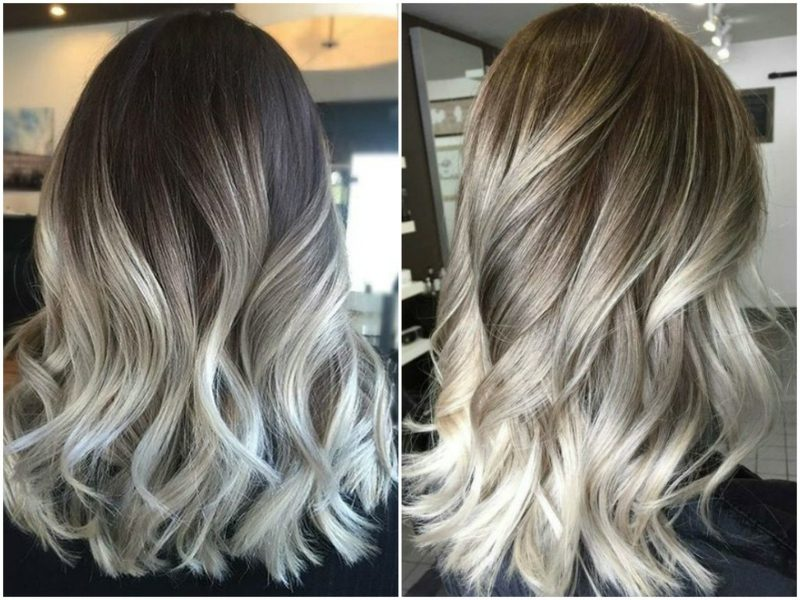 Haarfarbe Silberblond Balayage Technik Ombre Look