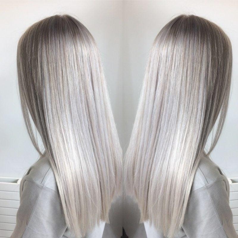 Haarfarbe Silberblond super stilvoll Frisur glatt