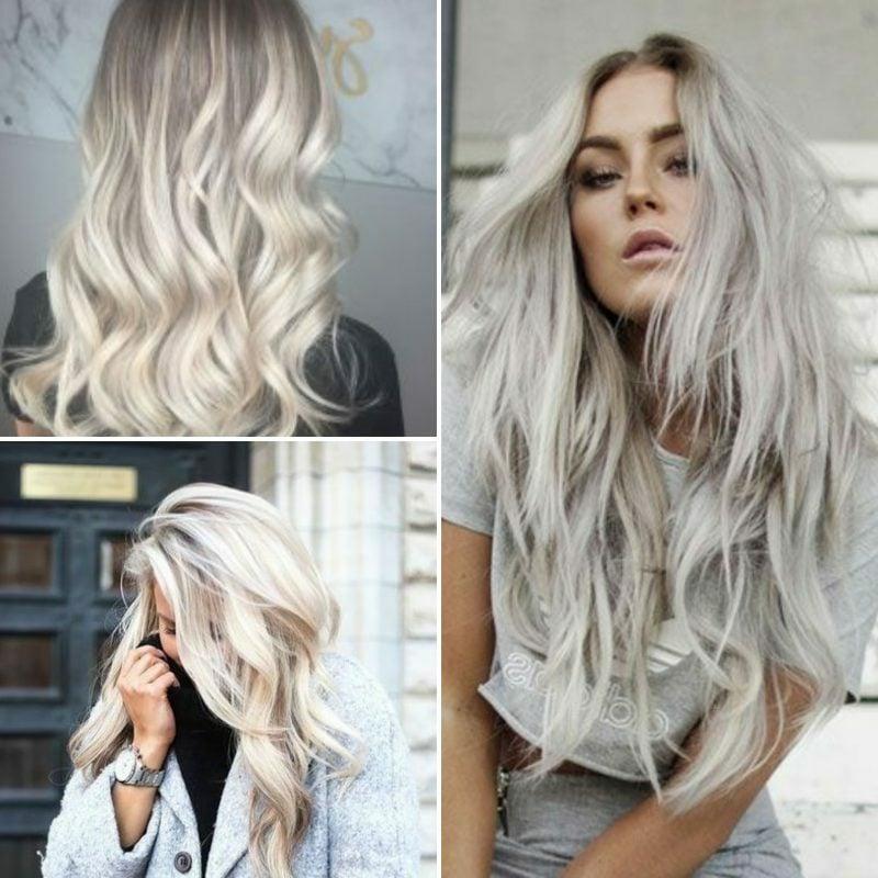 Haarfarbe Silberblond langes Haar tolle Ideen