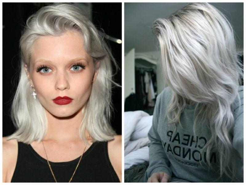 Haarfarbe Silberblond Long Bob herrlicher Look