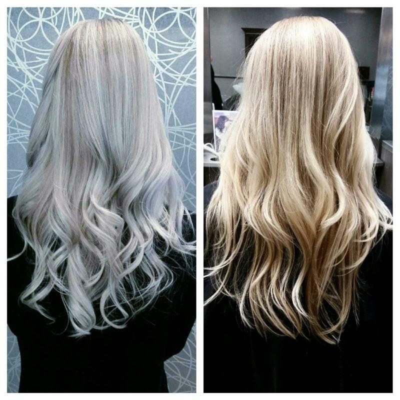 Haarfarbe Silberblond vorher nachher herrlicher Look