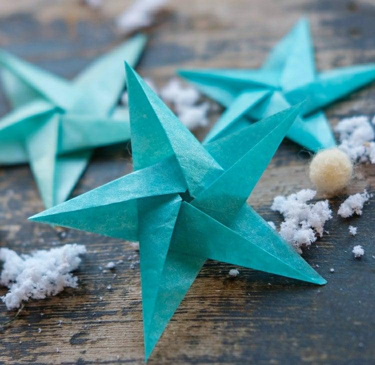 Sterne basteln mit Kindern Seidenpapier