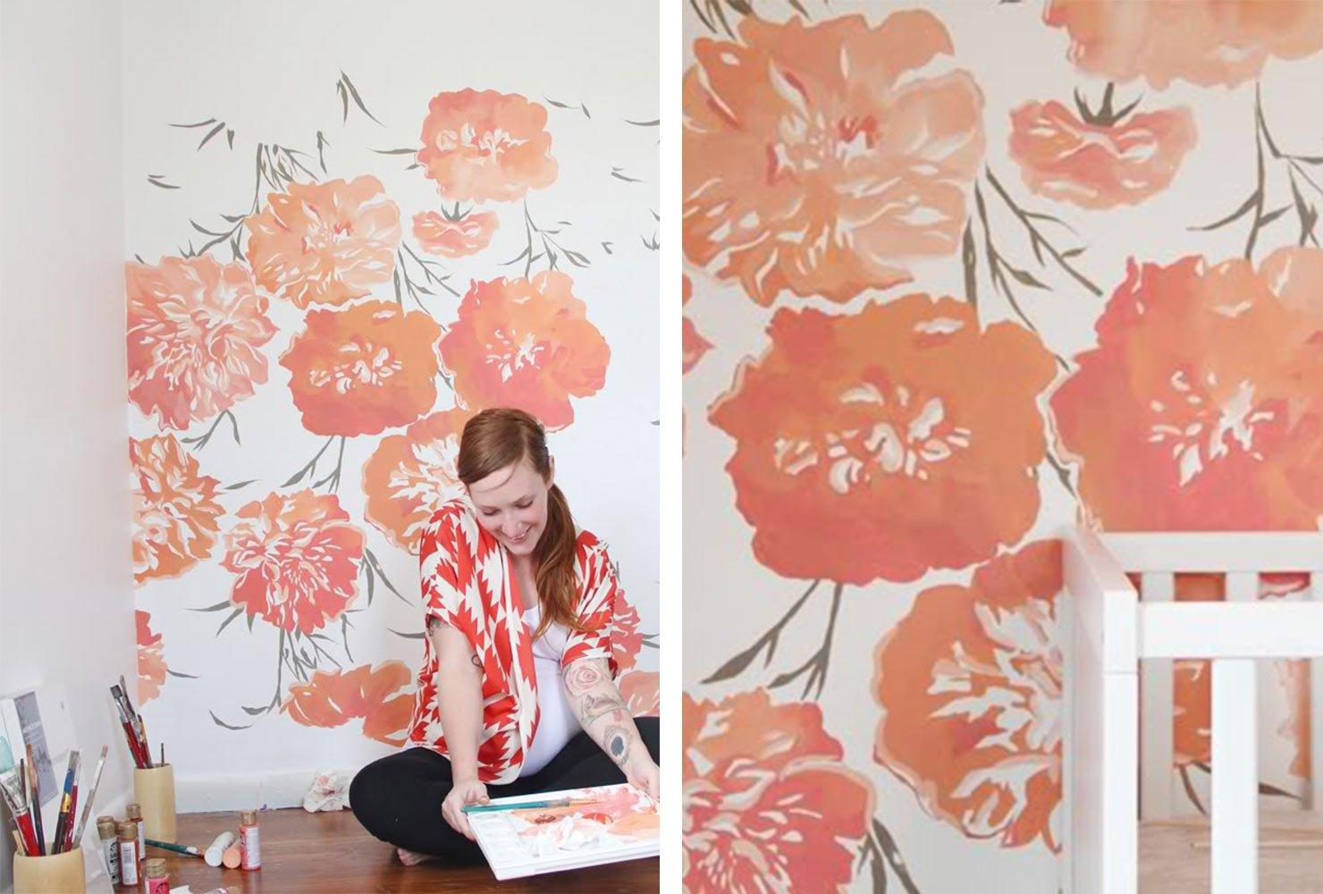 Wohnzimmer Wand bemalen mit Acryl Farben