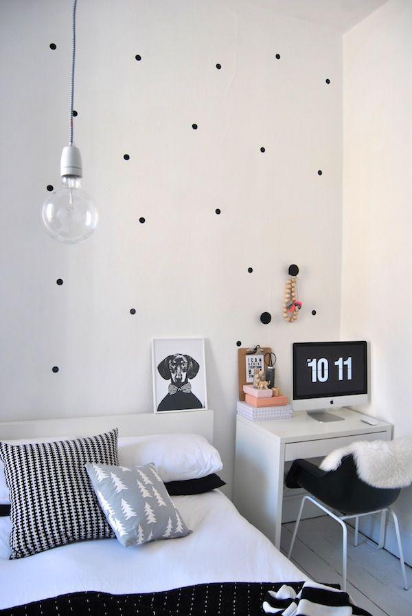 Wohnzimmer Wand Polka Dot selber machen