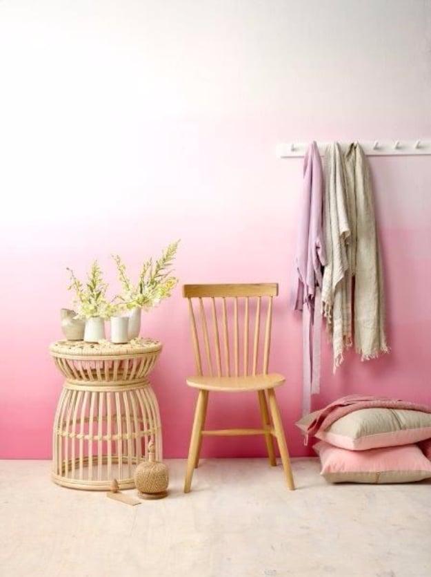 DIY Ideen Wandgestaltung - Wohnzimmer Wand Ombré streichen