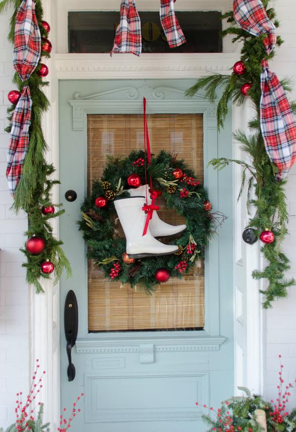 Herrliche Weihnachtsdeko Draussen Platzieren Die Veranda Festlich