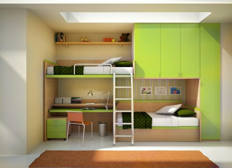 Hochbett mit Schreibtisch Kinderzimmer zwei Matratzen
