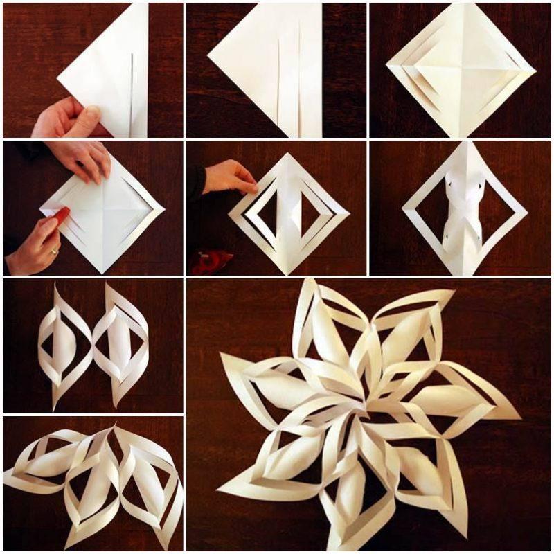 Schneeflocken basteln 3D aus Papier