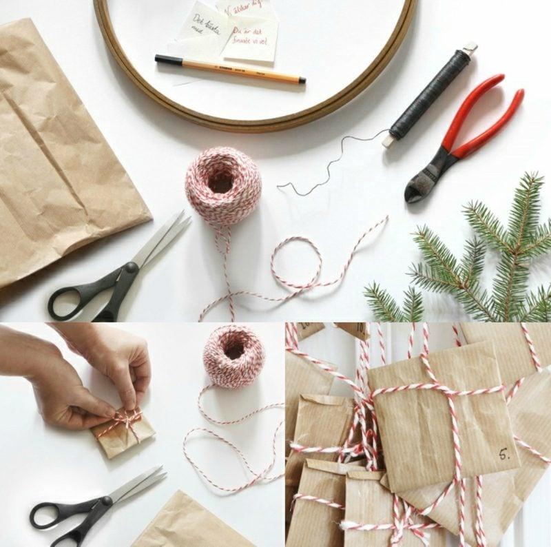 Originelle Adventskalender selber machen kleine Geschenke verpacken Bilderanleitung