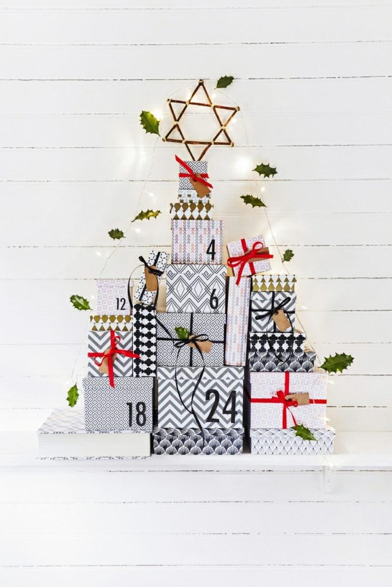 Originelle Adventskalender selber machen Geschenke Christbaum