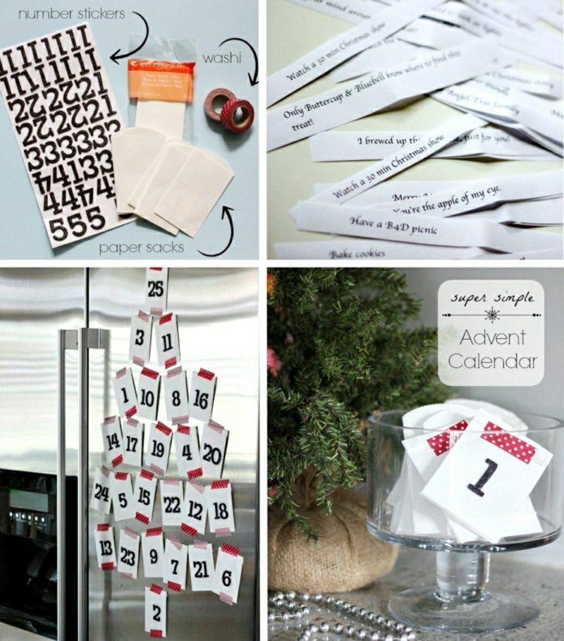 Originelle Adventskalender selber machen Karten Kühlschranktür