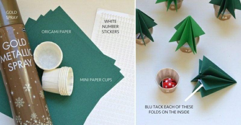 Originelle Adventskalender selber machen Tannenbäume Origami