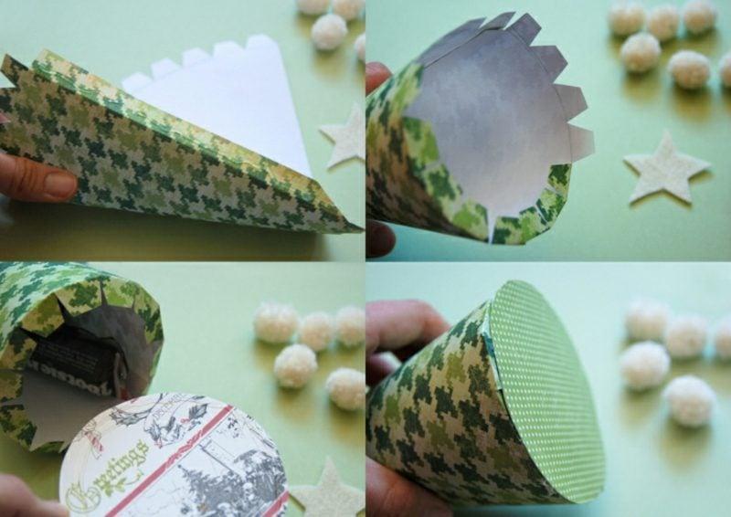 Originelle Adventskalender selber machen Papierkegel falten