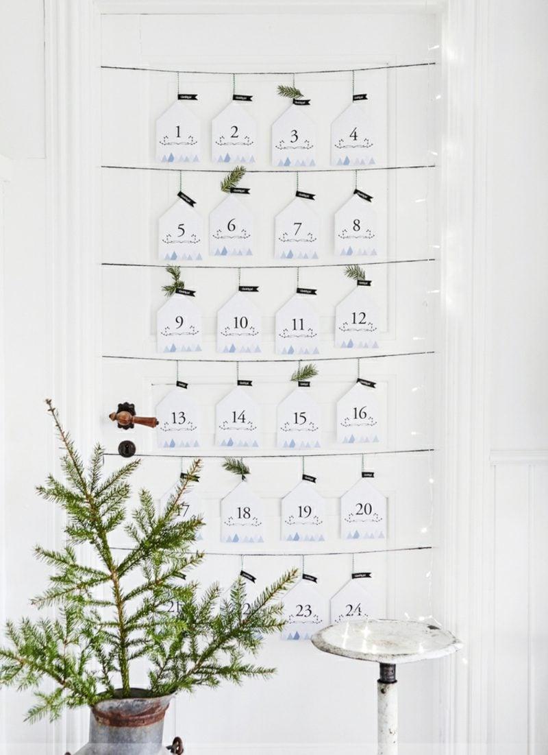 Originelle Adventskalender selber machen Karten minimalistisch