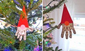 Handabdruck Weihnachten Nikolaus Pappe Christbaumschmuck