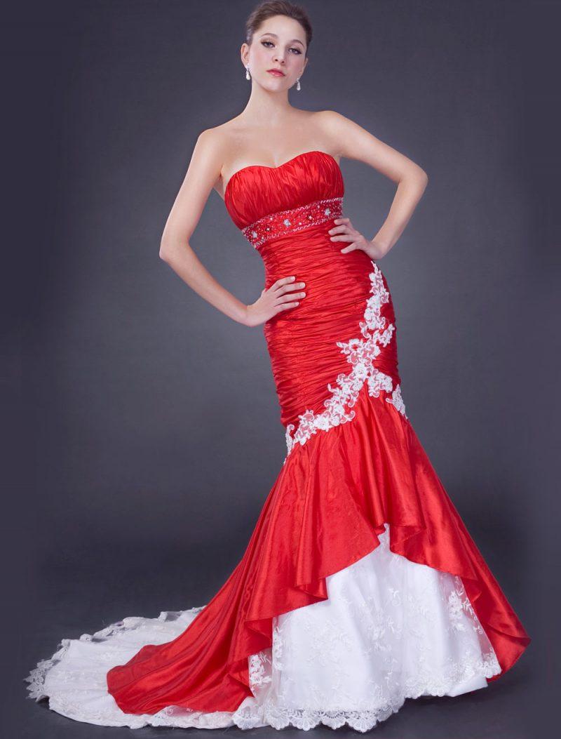 rote Brautkleider DElo weiß