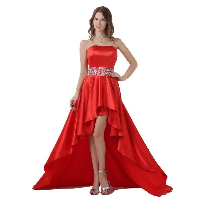 rote Brautkleider Knallrot Rock asymmetrisch