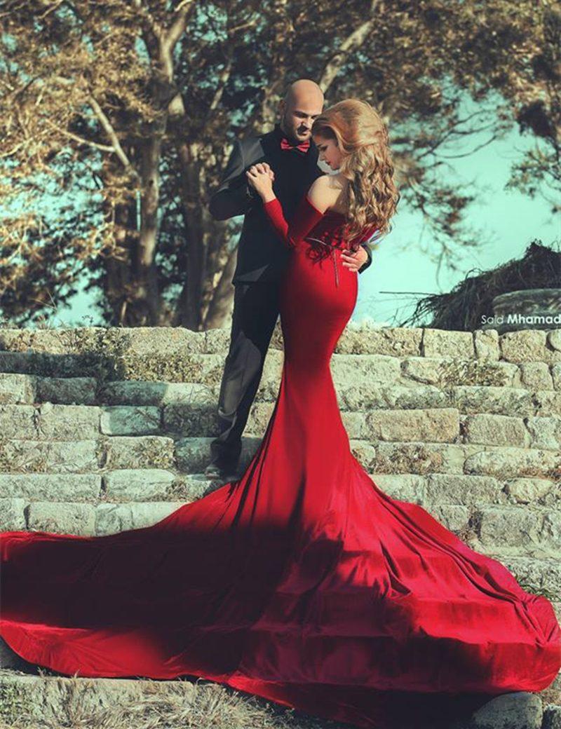 rote Brautkleider Meerjungfrau figurbetonend