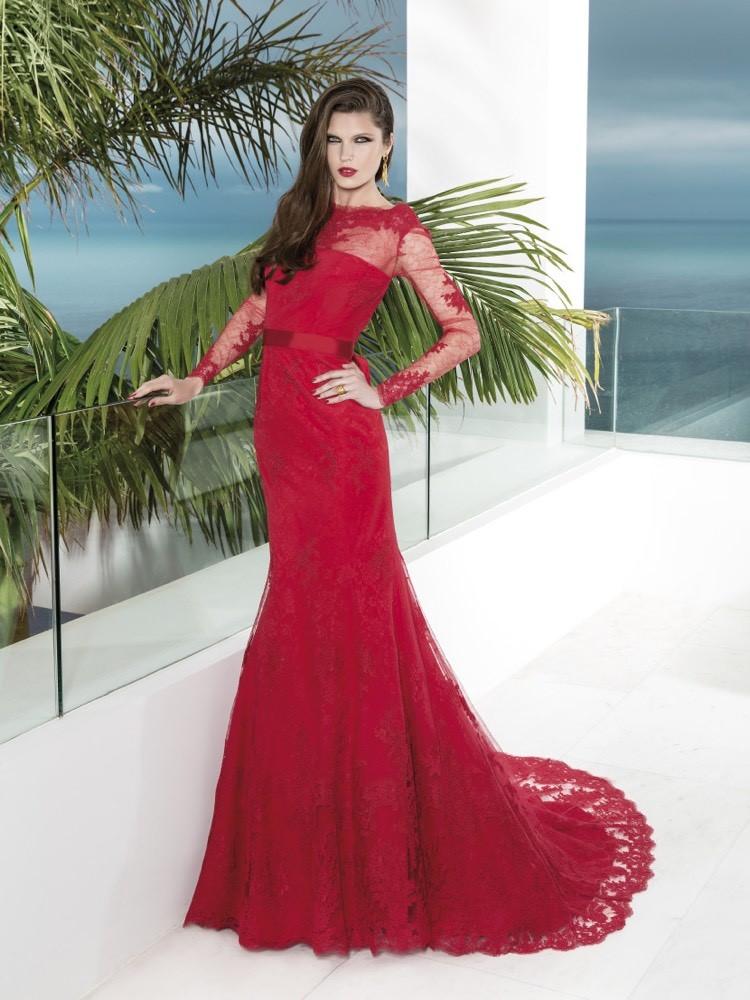 rote Brautkleider figurbetonend Spitze Weinrot