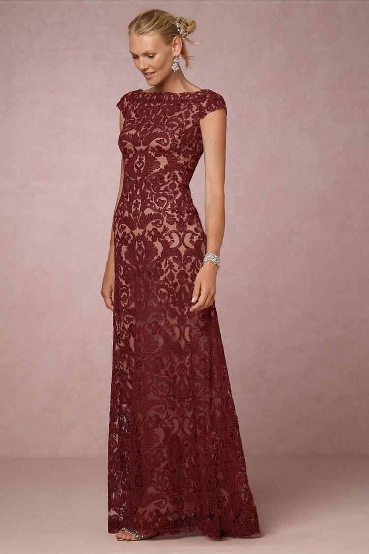 rote Brautkleider Dunkelrot Spitze romantisch