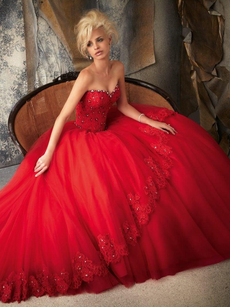 rote Brautkleider Knallrot prachtvoller Rock breit
