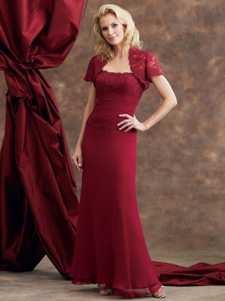 rote Brautkleider dunkelrot mit Bolero