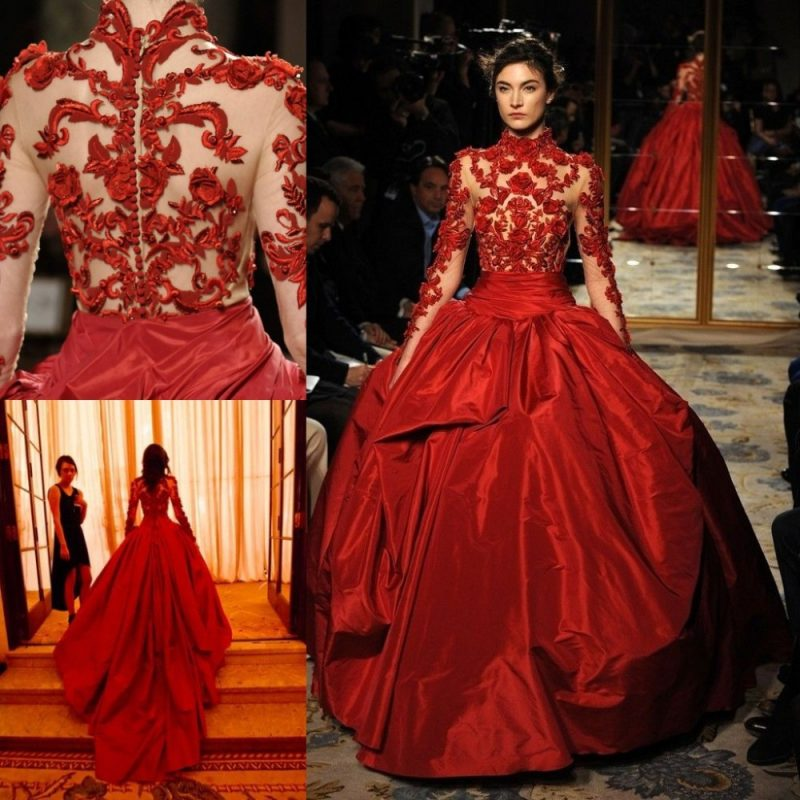 rote Brautkleider breiter Rock Oberteil bestrickt sehr elegant