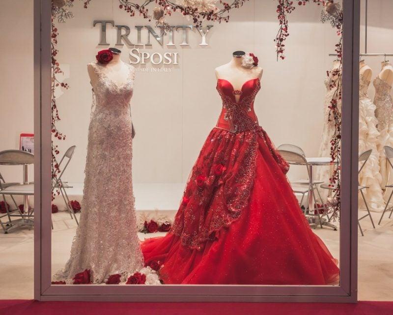 rote Brautkleider Trend Brautmode Schaufenster