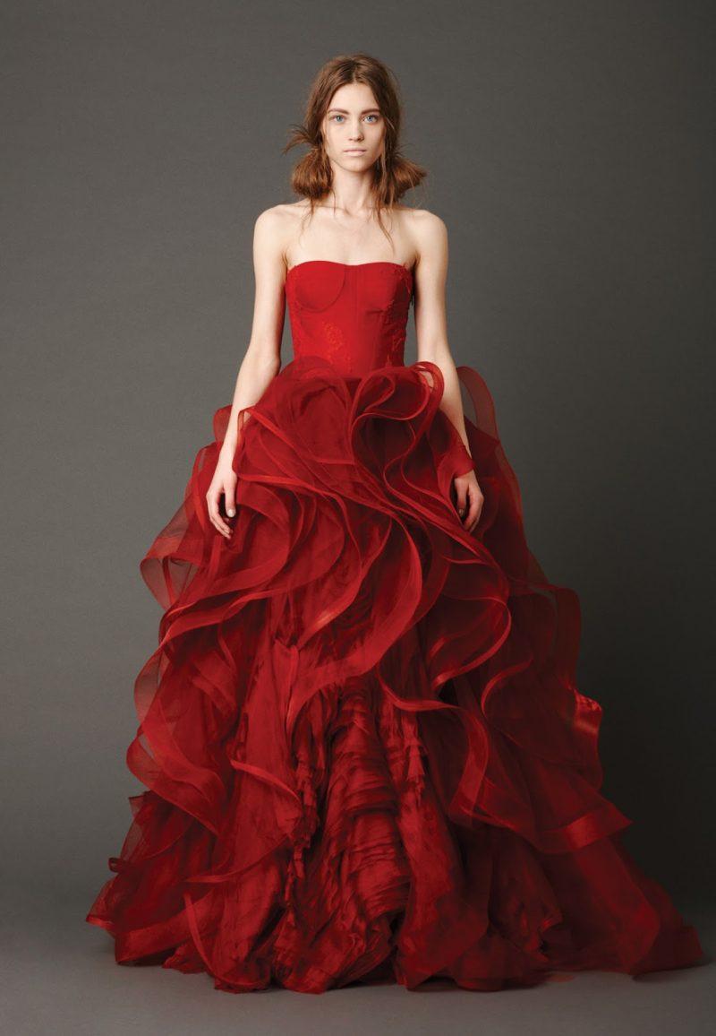 rote Brautkleider Vera Wang prachtvoller Rock